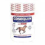 Has the same levels of active ingredients as cosequin optimized plus high purity msm (methylsulfonylmethane). Msm is an organic source of sulfur, a compound used by cartilage. Cosequin optimized with msm for horses contains 10,000 mg msm (per 2 scoops). N