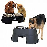 "The Healthy Pet Diner is a veterinarian-recommended way to feed your pet.  Elevated design minimizes strain on joints and muscles. Patented ""spill ridge"" keeps food and water off the floor. Three sizes - 4 in., 8 in., and 12 in."