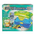 Kit contains carefresh complete hamster and gerbil food, carefresh bedding in assorted colors, and assorted chew treats. Kit also includes a critter universe 1-level home with food dish, water bottle and exercise wheel.
