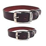 Decorative leather dog neck collar that attaches to a lead. (matching leashes available). Vegetable tanned leather and nickel hardware makes these collars last and last. Walk your dog in high style with Hamilton's best. Multiple widths/lengths.