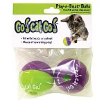 Fill with your pet's favorite treats, food or catnip. Comes with two play-n-treat ballsMade from non-toxic materials and colors, assuring your pet will have hours of safe fun. Toys provide chewing entertainment and encourage exercise.