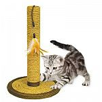 Scratcher post 19.5 inches. For claw and paw maintenance. Combines horizontal and vertical scratch surfaces.  Hand woven from all Natural materials and colored with vegetable dyes.   Shipped in a case of 2