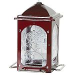 Elegant and classic, the Scarlet Rose Wild Bird Feeder by Homestead has a beautiful, deep red finish that is powder coated for durability and helps to prevent rust. Glass has a flower design. Feeder has a five pound seed capacity and has four metal perche