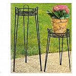 Cobraco plant stands will stand the test of time whether they are displaying your potted plants outdoors or indoors. This Canterbury plant stand is made from powder coated steel wire. The 21 inch plant stand has a twisted square wire basket that works.