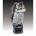 Uses a wind-activated spinning and bobbing head to frighten away garden pests. Realistic looking. Scare away pigeons, birds and vermin with this great horned owl look-alike--when the wind blows, the head of the Action Owl. bobbles