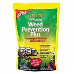 Combination product for use on lawns. All natural weed preventer and fertilizer. Will not burn. Homogenous pellet for uniform nutrient and herbicide distribution. Safer for children and pets immediately after application.