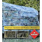 Uv resistant high density polyethylene material. 10 x 8 weave per square inch, approximately 4-5 mil. Thick. Non-reflective fabric finish, 1000 denier. Camouflage pattern, light green, green and brown. Heat sealed seams, rope-lined, heat sealed or double