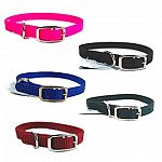 3/8 inch wide Dog collar. Attractive Nylon Dog Collar in multiple colors. Tongue Buckle. Made by Hamilton Pet - the leader in dog collars. Classic style dog collar - almost indestructable. Perfect for keeping your pet in trendy colors.