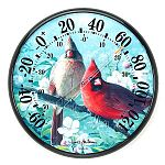 James Hautman's artwork can now hang around your home or office thanks to a series of 12 1/2 inch thermometers. Two vivid Cardinals adorn this functional outdoor thermometer. Great Gift Idea. Indoor / Outdoor.  -60 to 120 F