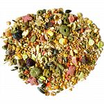 Fun, vitamin enriched mix including bananas, raisins, papaya, almonds, celery and bits of cuttlebone. Colorful sun, moon and star shaped cookies add a unique treat. Also enjoyed by lovebirds, parrotlets and small conures.