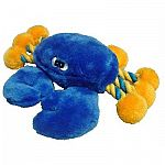 This bright blue plush crab is a cute and fun toy for your dog. Made of soft, plush material and rope legs, this crab is great for playing tug with your dog or snuggling with your dog. Keeps your dog entertained for hours! Medium or large size.