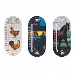The Chaney 8 in. Farm Scene Suction Cup Thermometers are available in assorted pictures of a Tractor with Farmer, Horse and Hens with Farm Fresh Eggs. These weather resistant thermometers are made to be durable and will not discolor in the sun.