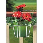 10 in. - choose Black or White.  Wire Flower Pot Holder With Adjustable Bracket, Allows A Flower Pot To Be Attached To Any 2 x 4, 2 x 6, or Wrought Iron Railing, Vinyl Coated Steel.
