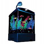 Features blue led s that enhance the glofish colors. Includes a seamless 1.5 gallon aquarium, black aquarium background, light with 9 blue led s, clear cover. . . Also includes black base with drawer, tetra 3i internal filter, air pump, air line tubing an