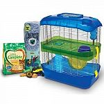 Kit contains carefresh complete hamster and gerbil food, carefresh bedding in assorted colors, and assorted chew treats. Kit also includes a critter universe 2-level home with food dish, water bottle and exercise wheel.
