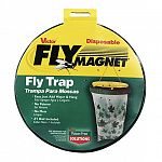 The fly magnet is used for Eliminating Flies & Other Flying Insects. Easy to use. Just add water and hang trap. No Poisons and No Mess! Number 1 Bait included.
