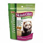 Given daily Ferretone skin and coat treats provide important nutritional benefits to maintain a healthy skin and coat. Real chicken. 3 oz.
