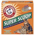 Super scoop cat litter is a freshly scented litter with no crumbling. Clumps hard and fast to lock in odors on contact no matter how many cats you have. You ll love the outstanding odor control and convenience of arm hammer super scoop litter.