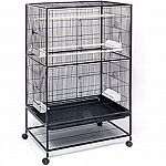 Large wrought iron flight cage features 2 large front doors for easy access to birds and a bottom shelf for storing food. Four plastic double cups, 2 wood perches and a pull-out bottom grille and drawer for easy cleaning. Designed for parakeets and other