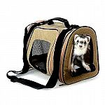 Stylish way to carry your pet. Available in a tan suede-like fabric. Measures approximately 11.5 w x 10 d x 10 inches h. Removable bottom for easy cleaning. Three vented areas for extra airflow. Three zippered areas for easy access to pet.