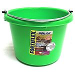 Perfect space saver bucket for farm and home use. Exceptionally lightweight, under 1 lb. Features a low wide shape with an extra wide top, making it ideal for calf feeding. Resists cold weather / Fortex strong / 8 quarts / Great colors.