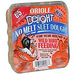 Oriole Delight has Rendered beef suet, peanuts, papaya, orange flavoring, corn and oats. Delights are mixed into a soft dough texture which is pressed into cake form. C&S's process creates the only true NO MELT suet product line.