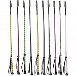This is a package of 10 assorted colored riding crops, which are used when riding your horse. Each has a leather popper end and a wrist loop. Plastic, leather and nylon.