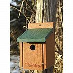 Help the environment and your backyard birds with this attractive, natural looking bird house for wrens. House is made of 90% recycled plastic lumber that is colored to blend in nicely with nature.