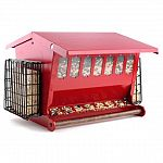Double sided feeder ports. Top features a racoon and squirrel-resistant latch. Suet baskets on both sides feature a snap-on latch to easily replenish suet. Seed level indicator windows on both sides. 2.5 gallon capacity.