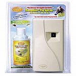 This kit contains Pyrethrin and provides automatic 24-Hour flying insect control. It kills and repels flies, gnats and mosquitoes. Dispenses every 15 minutes and is EPA Registered and USDA Rated. 5-Year dispenser warranty.
