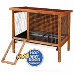 The large rabbitat rabbit hutch now features a new hop way door that allows your rabbit an easy entrance or exit from the cage. It comes with a hinged roof and coated wire floor. Manufactured with exterior grade plywood and a non-toxic weather protective