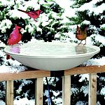 Care for the birds you love with this year-round heated bird bath. Supplies ice-free water all winter long. Power cord clips under bath when heat is not required. Built-in automatic thermostat with 150 watts of power.