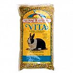 Vitamin enriched alfalfa pellets with vitamins and minerals, garden vegetables, dehydrated carrots and corn crunchies.