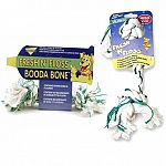 A cotton Booda Bone with baking soda and fluoride to clean and floss dogs teeth and keep breath smelling fresh. Each has the added power of baking soda and flouride to keep dog teeth in optimum condition.  Spearmint flavor.
