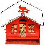 Holds 12 pounds of seed. Features a weight activated perch bar that closes to prevent squirrels from accessing the seed supply. Home design with metal construction and a removable roof peak for easy filling.