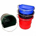 Durable Water Bucket measuring 15 wide X 13 deep; Large 20 Quart Capacity; 5/16 Galvanized handle; Spill handle on bottom.