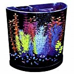 Distinctive shape and a great way to illuminate your glofish. Includes a half moon, seamless plastic aquarium and canopy, whisper internal filtration, and a small size filter cartridge. Also includes air pump, airline tubing, adjustable connection valves,