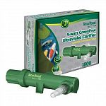 Tetra Pond GreenFree Clarifier includes a 9 watt UV Clarifier and isdesigned for ponds up to 1800 gallons. Dependable clarifiers use ultravioletlight to destroy the reproductive ability of suspended algae.
