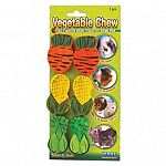 The Small Assorted Veggie Chews are three small pieces of wood that contain USDA approved, vegetable based food coloring that your small animal may chew on to help fight boredom. Keeps their teeth trim and clean. May be given to small animals.