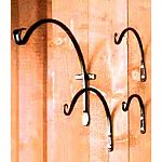 These hand-forged brackets from The Hookery feature a standard upward curve for hanging planters and bird feeders. Screws not included. Black poly coated.