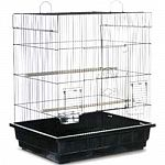 New larger-based cage offers plenty of room for parakeets, canaries and other small birds. Large front door provides access to the entire cage interior and smaller door allows access without opening whole cage. Removable bottom grille and pull-out bottom