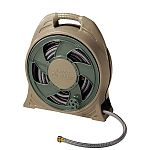 Fully assembled cassette hose reel with ergonomically designed handle makes carrying easy. Includes 65' of 1/2