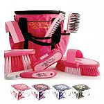 This handy and stylish grooming set by Equestria contains a matching grooming tote, body brush, dandy brush, face brush, and mane and tail brush. All tools are color coordinated to match. Choose pink, purple, blue and deluxe black and gold.