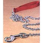 By Hamilton. Durable Chain leads with comfortable nylon handles. Choose from fine to x-heavy depending on the size of your dog. Length is 4 feet for all models.