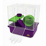 Perfect for a variety of small animal pets including hamsters and gerbils. This small animal pet home has two levels for your small animals to play with. Lots of room and cage comes with a comfort wheel for fun and lots more!
