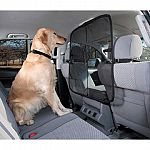 Keeps pets from inviting themselves into the front seat, thus reducing driver distraction and increasing safety. Patent pending design uses a micro-mesh material which improves driver visability and is guaranteed claw-proof.