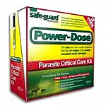 Safe-Guard Power-Dose Parasite Critical Care Kit for Horses. Each kit contains 5 tubes of 57 gram Safe-Guard paste, rotational deworming barn chart, guide to encysted small strongyles and rotational deworming manual.
