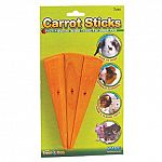 Carrot Sticks for Small Animals come in a pack of three. Ideal for overcoming boredom in rabbits, gerbils, hamsters, guinea pigs and more! This treat helps to trim and clean teeth, while providing entertainment. Fruit flavored wood chew that your pet will