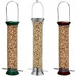 The New Generation Peanut Feeders are 13 inch long peanut feeders that are available in green, burgundy or platinum powder coated finish. This durable finish protects the base, top and ports. Made of stainless steel wire that is can't be chewed.