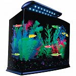 Features blue led s that enhance the glofish colors. Includes a seamless 3 gallon aquarium, light with 16 blue led s, clear cover, black base frame, tetra internal filter. . . Also includes tetra medium filter cartridge, tetracare registration and usage i